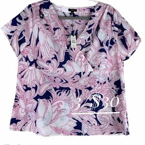 NWT Talbots top size 14WP short sleeve floral